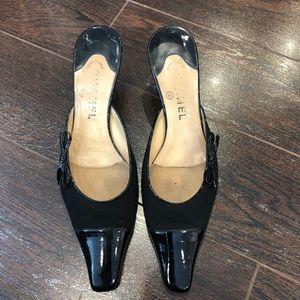 Chanel Vintage Black Heeled Mules